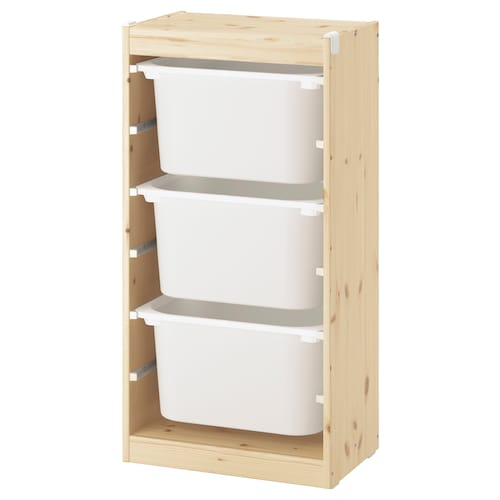 TROFAST Storage combination with boxes, light white stained pine/white, 46x30x91 cm