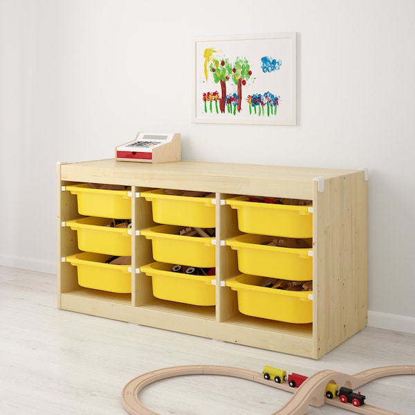 TROFAST Storage combination with boxes, light white stained pine/yellow, 99x44x52 cm