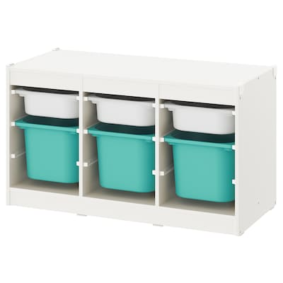 TROFAST Storage combination with boxes, white/turquoise, 99x44x55 cm