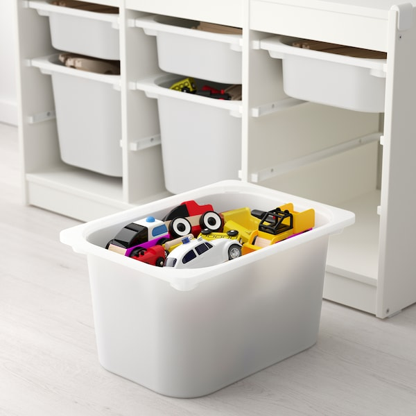 TROFAST Storage combination with boxes, white white/pink, 99x44x55 cm