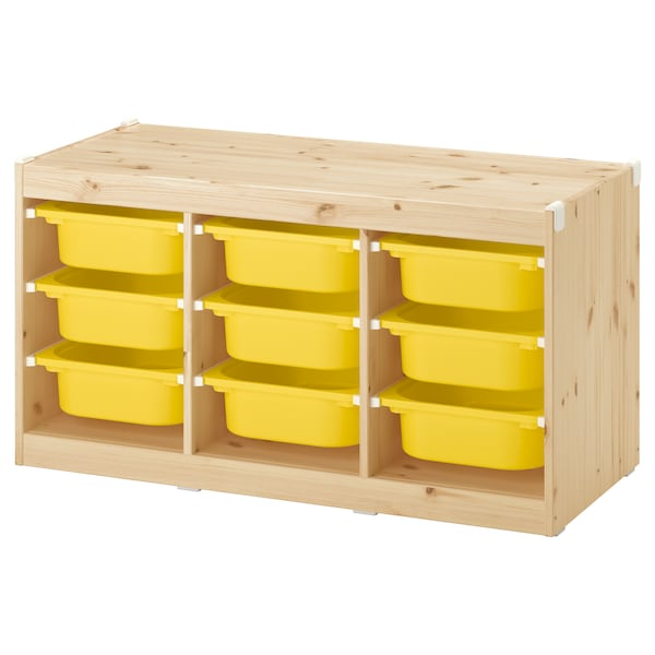 TROFAST storage combination with boxes light white stained pine/yellow 99 cm 44 cm 52 cm