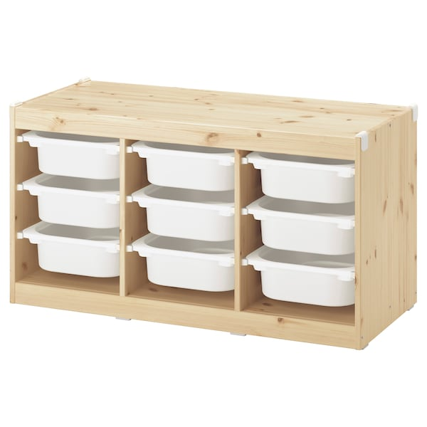 TROFAST storage combination with boxes light white stained pine/white 99 cm 44 cm 52 cm