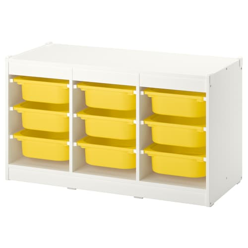 TROFAST storage combination with boxes white/yellow 99 cm 44 cm 55 cm