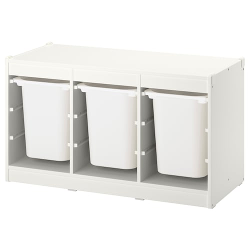 TROFAST storage combination with boxes white/white 99 cm 44 cm 55 cm