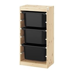 TROFAST storage combination with boxes, light white stained pine, black