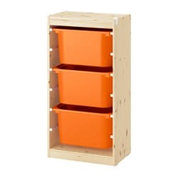 TROFAST storage combination with boxes, light white stained pine, orange