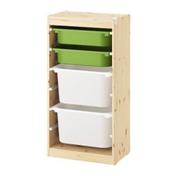TROFAST storage combination with boxes, light white stained pine green, white