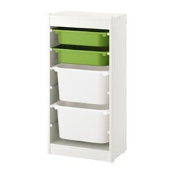 TROFAST storage combination with boxes, white, green white