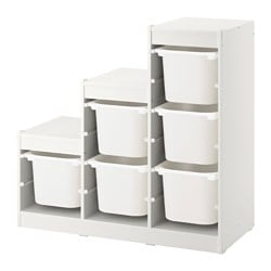 TROFAST storage combination with boxes, white