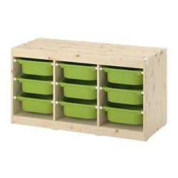 TROFAST storage combination with boxes, light white stained pine, green