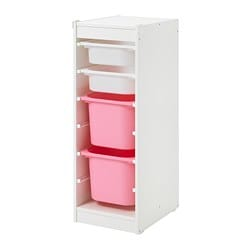 TROFAST storage combination with boxes, white, white pink