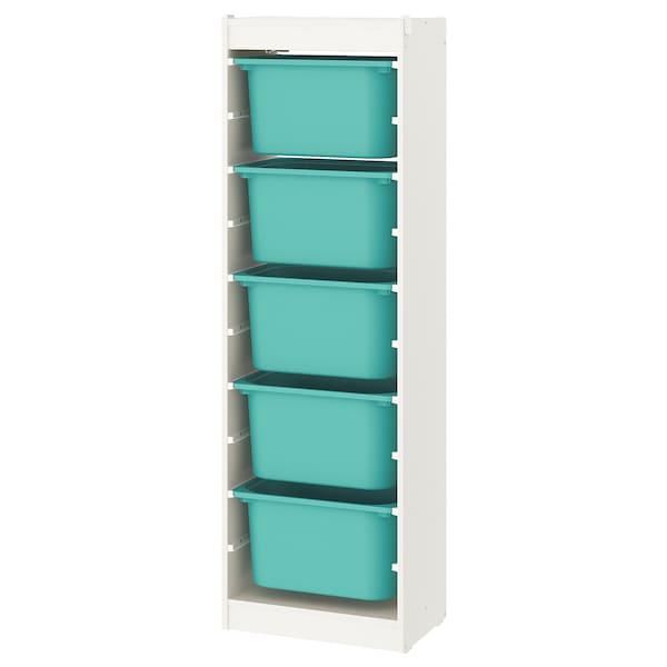 TROFAST storage combination with boxes white/turquoise 46 cm 30 cm 146 cm