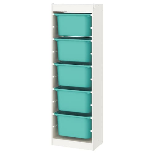 TROFAST storage combination with boxes white/turquoise 46 cm 30 cm 146 cm