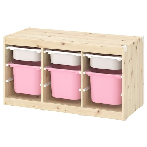 TROFAST storage combination with boxes light white stained pine white/pink 99 cm 44 cm 52 cm
