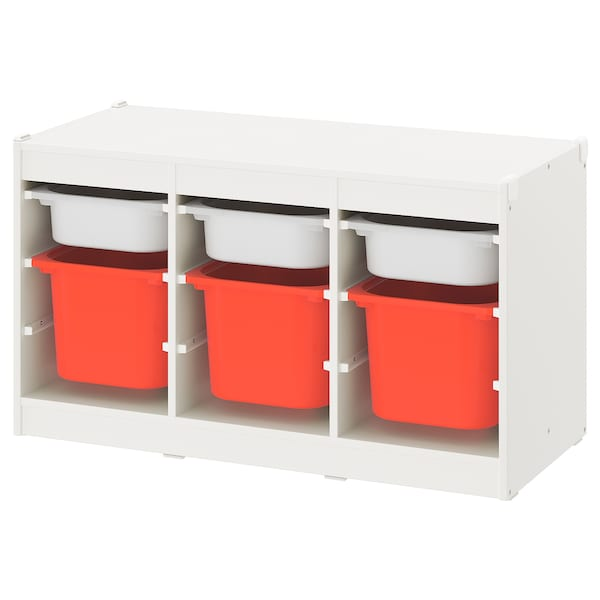 TROFAST storage combination with boxes white white/orange 99 cm 44 cm 55 cm
