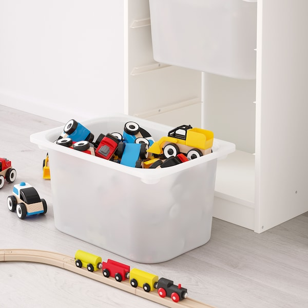 TROFAST storage combination with boxes white/white turquoise 46 cm 30 cm 146 cm