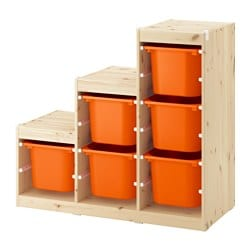 TROFAST storage combination, light white stained pine, orange