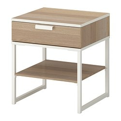 TRYSIL bedside table, white stained oak effect, white