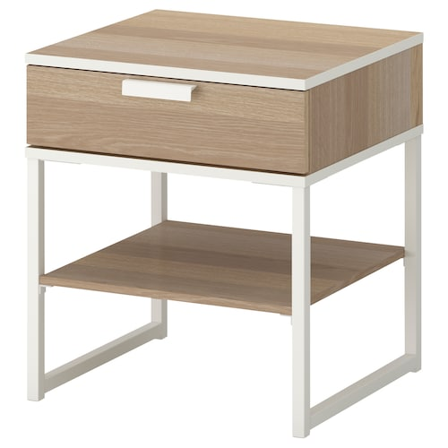 TRYSIL bedside table white stained oak effect/white 45 cm 40 cm 53 cm