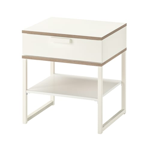 TRYSIL bedside table white/light grey 45 cm 40 cm 53 cm