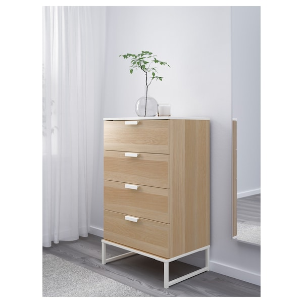 TRYSIL chest of 4 drawers white stained oak effect 60 cm 40 cm 99 cm 33 cm