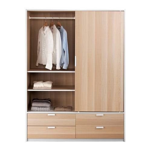 Ikea Schreibtisch Jonas Neupreis ~ TRYSIL Wardrobe w sliding doors 4 drawers  white stained oak effect