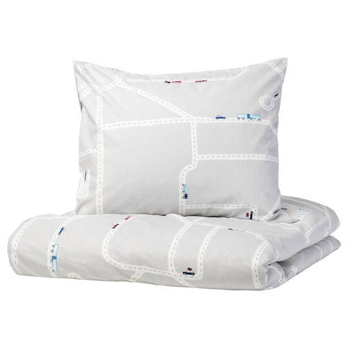 UPPTÅG Quilt cover and pillowcase, cars/roads pattern/grey, 150x200/50x80 cm