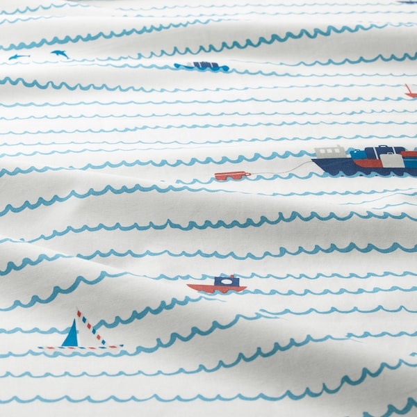 UPPTÅG quilt cover and pillowcase waves/boats pattern/blue 200 cm 150 cm 50 cm 80 cm