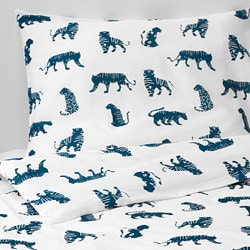 URSKOG quilt cover and pillowcase, tiger, blue
