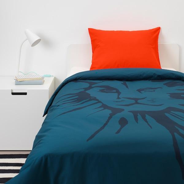 URSKOG quilt cover and pillowcase lion/dark blue 200 cm 150 cm 50 cm 80 cm