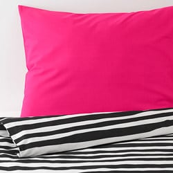 URSKOG quilt cover and pillowcase, zebra, striped