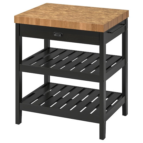 VADHOLMA kitchen island black/oak 79 cm 62.5 cm 90 cm