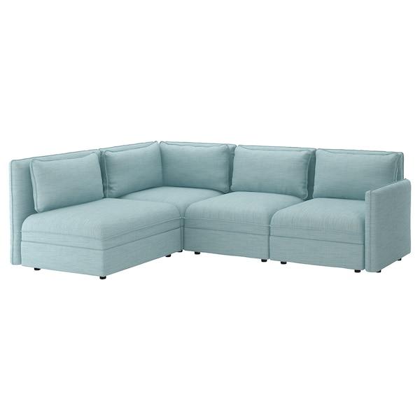 VALLENTUNA Modular corner sofa, 3-seat, with storage/Hillared light blue