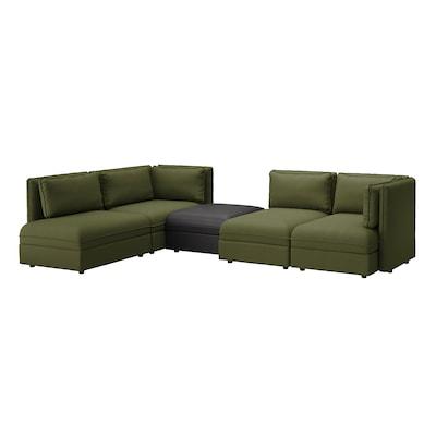 VALLENTUNA Modular corner sofa, 4 seat, with storage/Orrsta/Murum olive-green/black