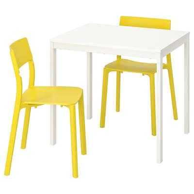 VANGSTA / JANINGE Table and 2 chairs, white/yellow, 80/120 cm