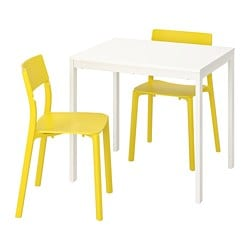 VANGSTA /  JANINGE table and 2 chairs, white, yellow