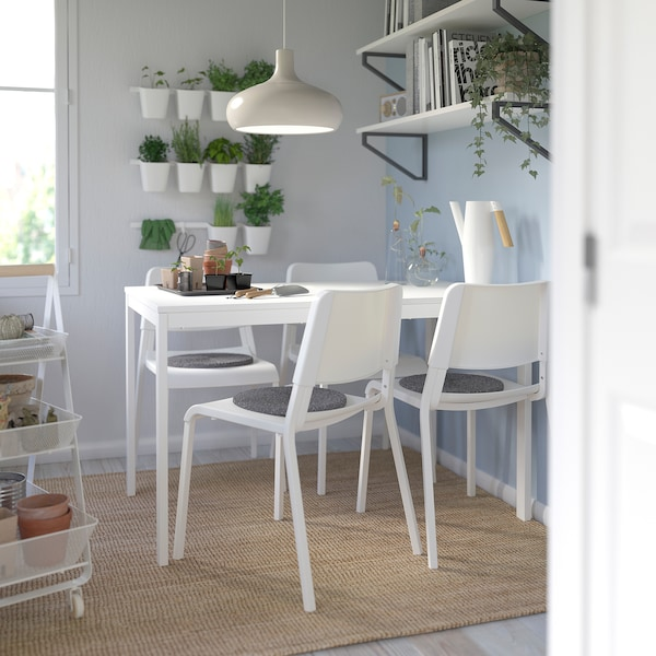 VANGSTA / TEODORES table and 4 chairs white/white 120 cm 180 cm
