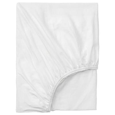 VÅRVIAL Fitted sheet, white, 180x200 cm