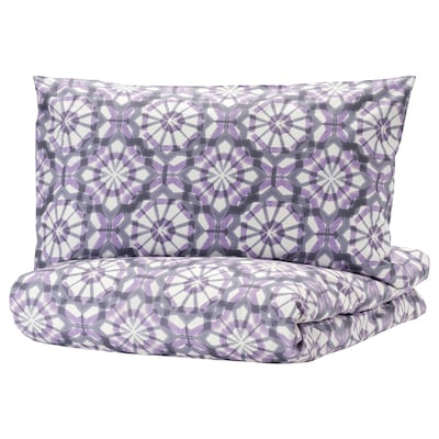 VATTENFRÄNE Quilt cover and 2 pillowcases, white/purple, 240x220/50x80 cm