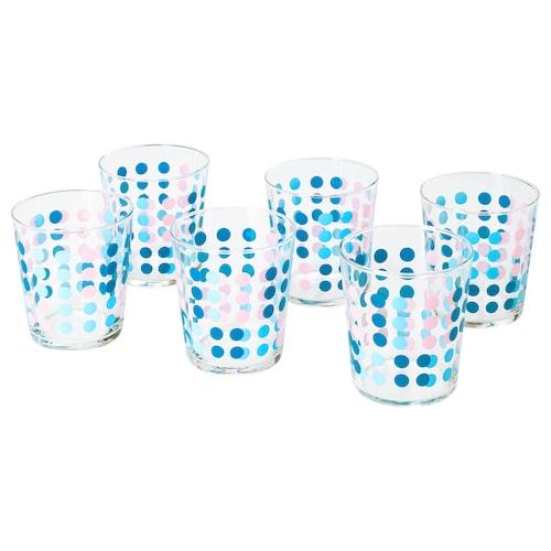VECKAD Glass, patterned, 30 cl