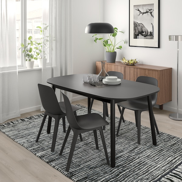 VEDBO / ODGER Table and 4 chairs, black/anthracite, 160x95 cm