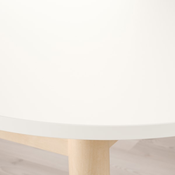 VEDBO / RÖNNINGE table and 4 chairs white/birch 160 cm 95 cm