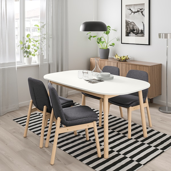 VEDBO Table and 4 chairs, white/birch, 160x95 cm