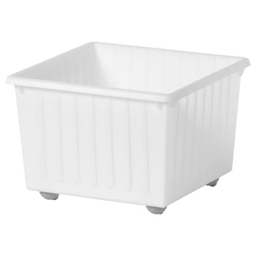 VESSLA Storage crate with castors, white, 39x39 cm