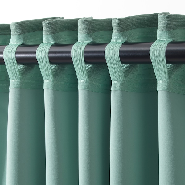 VILBORG Room darkening curtains, 1 pair, green, 145x250 cm