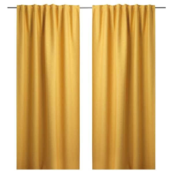 VILBORG Room darkening curtains, 1 pair, yellow, 145x250 cm