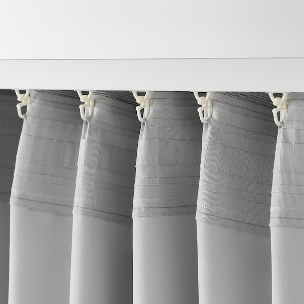 VILBORG room darkening curtains, 1 pair grey 250 cm 145 cm 2.50 kg 3.63 m² 2 pack