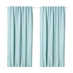 VILBORG room darkening curtains, 1 pair, white/turquoise