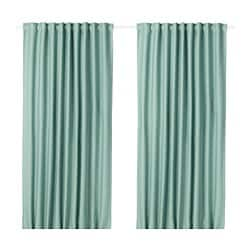 VILBORG room darkening curtains, 1 pair, green