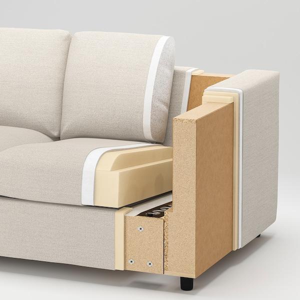 VIMLE 3-seat sofa-bed Lejde grey/black 53 cm 83 cm 68 cm 261 cm 98 cm 241 cm 55 cm 48 cm 140 cm 200 cm 12 cm